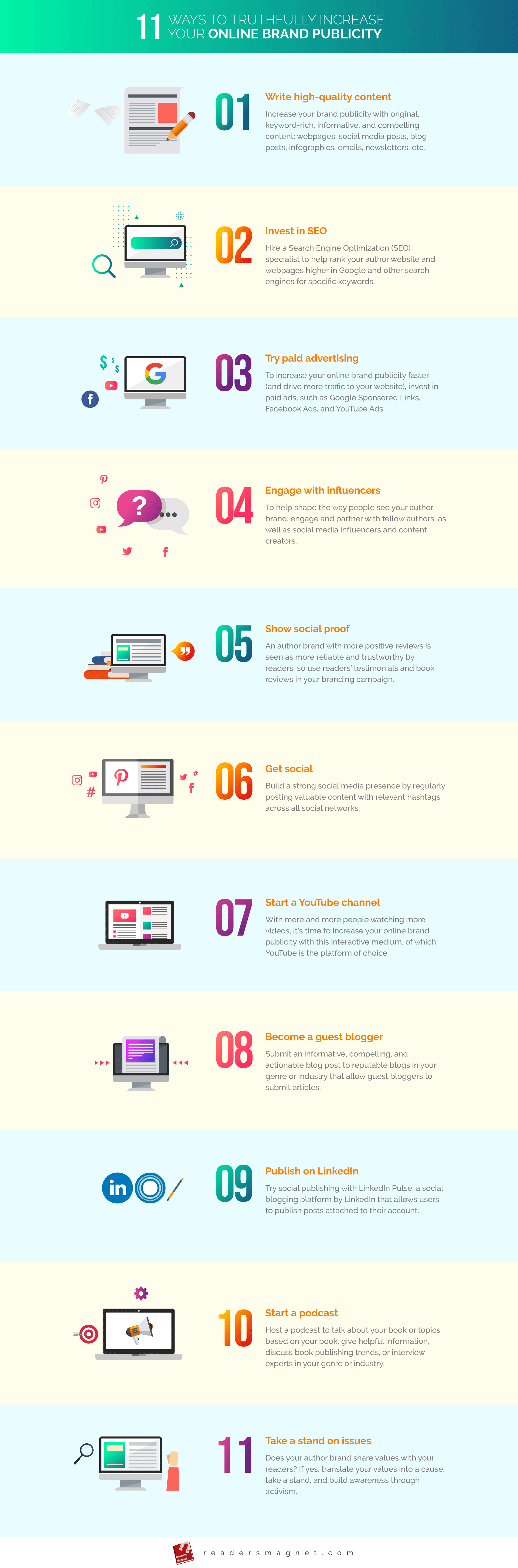 11 Ways To Truthfully Increase Your Online Brand Publicity infographic
