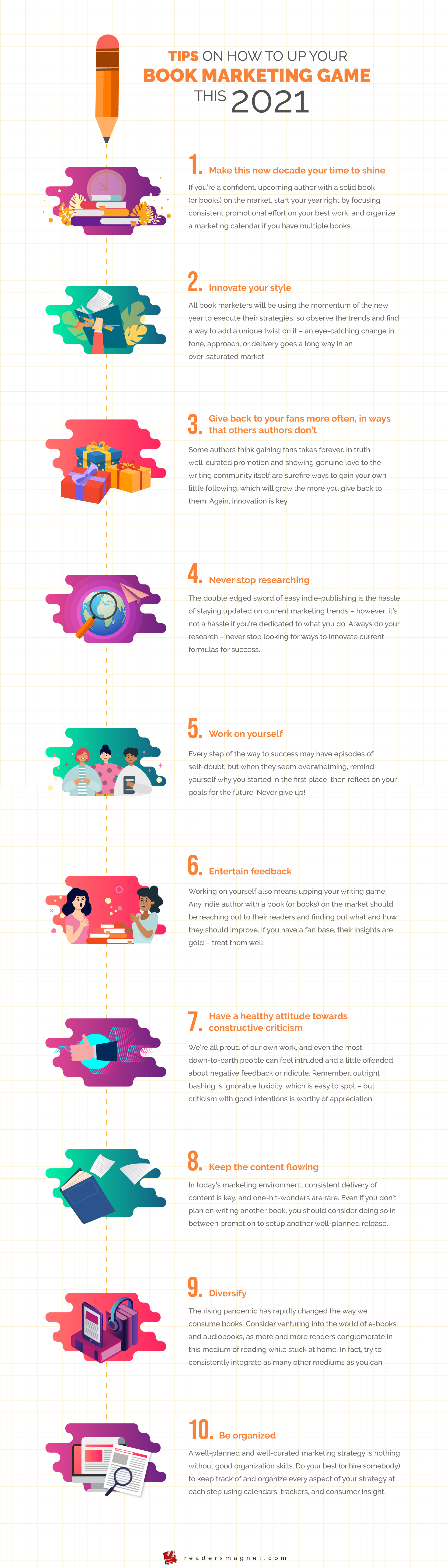 Tips On How To Up Your Book Marketing Game This 2021 infograohic